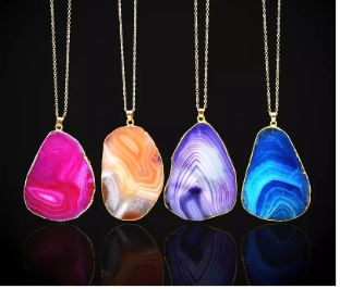 Natural Banded Agate necklaces
