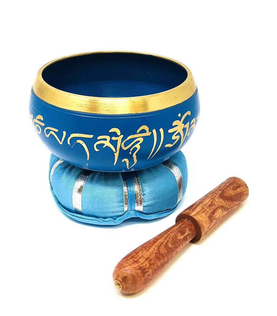 Tibetan Singing Bowl Blue with Mallet $34.99