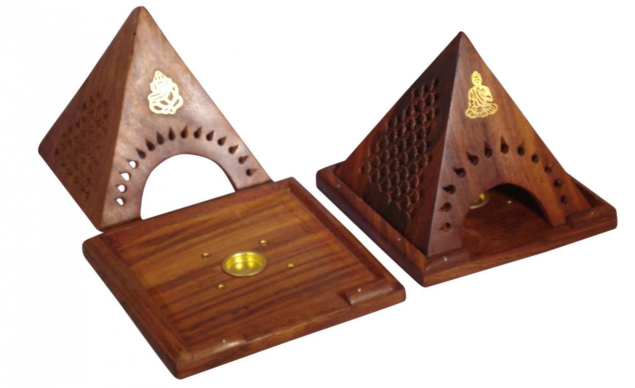 Wooden Pyramid Incense Cone Burner $12.99